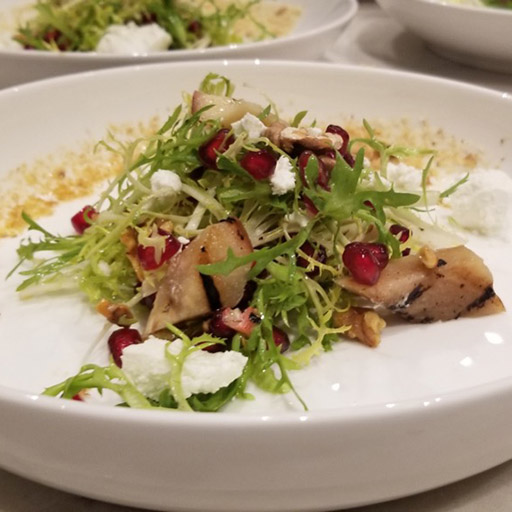 Pear and pomegrante salad with goat cheese
