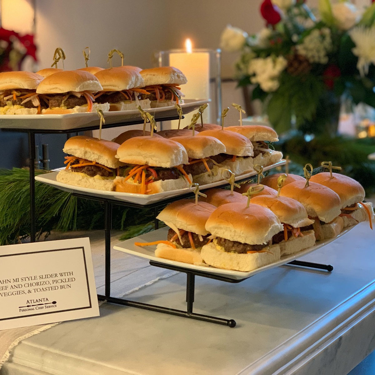 "Three tiers of our popular beef and chorizo ""bahn mi"" sliders"