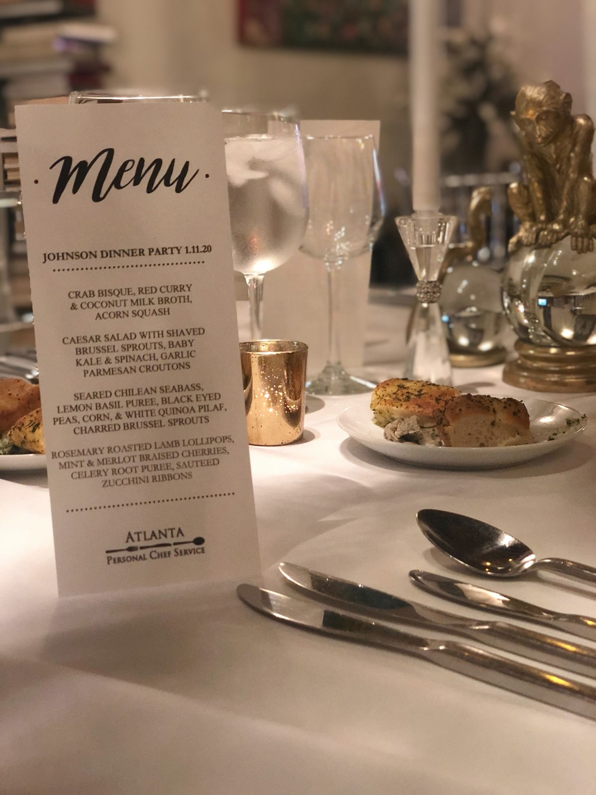 Custom printed dinner menus with fresh bread and butter service