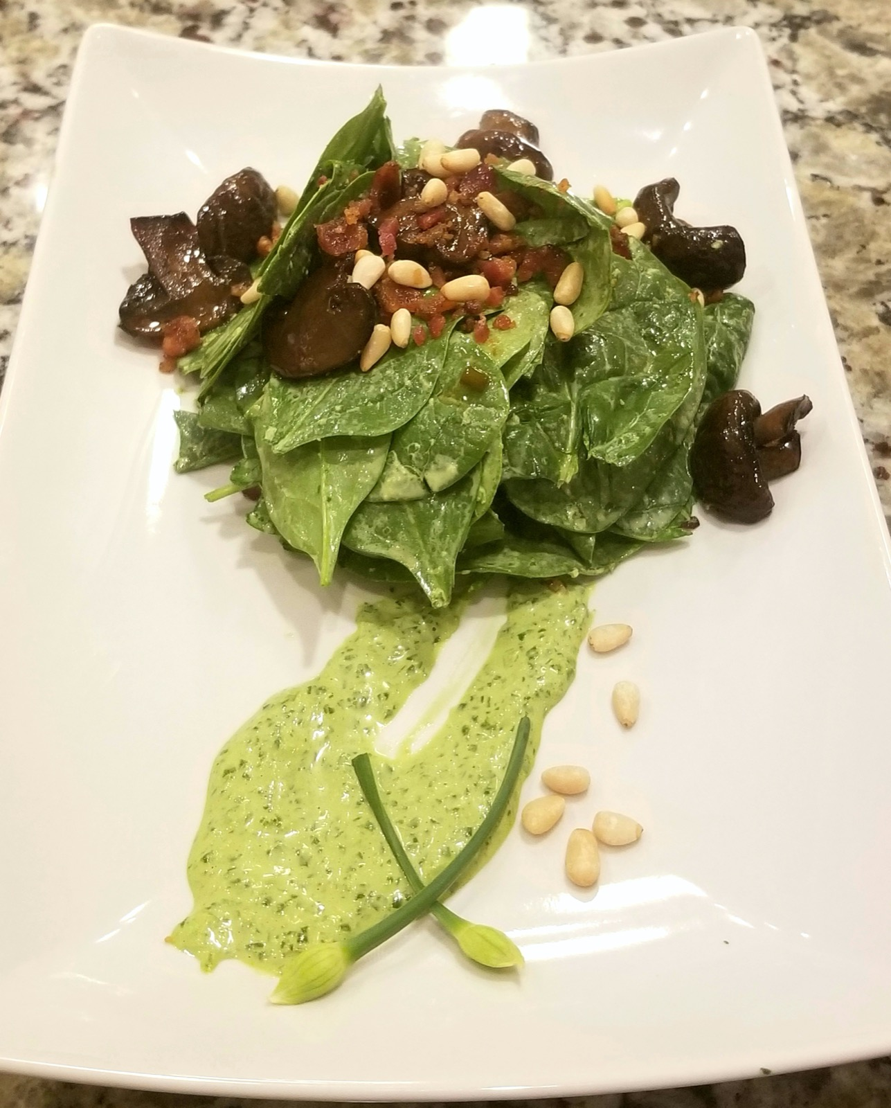 Our version of a Chop's steakhouse warm spinach salad